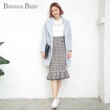 香蕉宝贝秋冬新款韩版呢子大衣西装领中长款加厚毛呢外套女D54D844