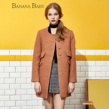 BANANA BABY新款羊毛宽松毛呢外套女中长款呢大衣B44W302