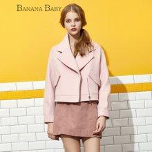 BANANA BABY韩版新款拉链短款毛呢外套女宽松上衣D64W096