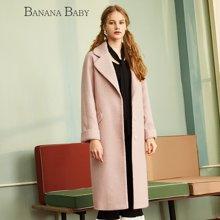 BANANA BABY新款甜美纯色中长款呢子大衣女时尚毛呢外套D64W056