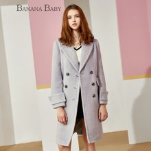 BANANA BABY新款双排扣西装领宽松中长款女士毛呢外套B54W128