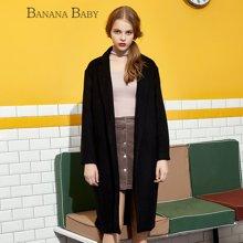 BANANA BABY秋冬款韩版直筒宽松休闲中长款毛呢外套女装呢子大衣D54D850