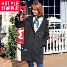 韩都衣舍2017韩版女装冬装新款直筒连帽中长款毛呢外套PC5512晽