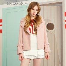 BANANA BABY韩版新款时尚短款毛呢外套女百搭显瘦呢大衣D64W152