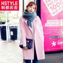 韩都衣舍2017韩版女装冬装新款纯色中长款长袖毛呢外套JM5484蒖
