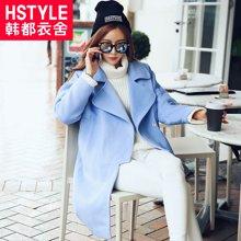 韩都衣舍2017韩版女装冬新款宽松纯色显瘦中长款毛呢外套NW6159棽