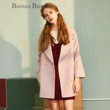 BANANA BABY新款粉色刺绣毛呢外套女中长款呢子大衣D64W057