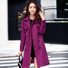 百依恋歌 冬季时尚修身中长款毛呢外套纯色西装领双排扣 BL2607