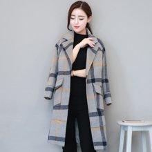 百依恋歌 新款女装韩版格子中长款宽松加厚毛呢大衣外套 BY16A013