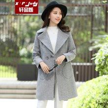 轩品媛  秋冬装新款韩版中长款呢子大衣西装领两粒扣呢外套女  500716