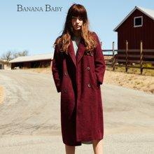 BANANA BABY新款羊毛翻领毛呢外套韩范长款呢子大衣女上衣D54D889