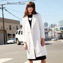 BANANA BABY新款韩版白色毛呢外套女韩范长款呢子大衣B54W119