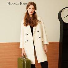 BANANA BABY新款韩版纯色羊毛呢外套女中长款呢子大衣D54D866