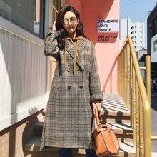 七格格 毛呢外套女中长款2017秋冬天新款潮韩版过膝复古学生格子呢子大衣