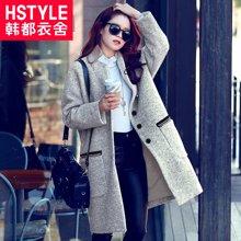 韩都衣舍 韩版女装冬季新款时尚宽松毛呢外套EQ6152.婋