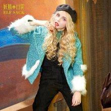 妖精的口袋P依旧晴朗冬装女仿皮草毛条拼接粗花呢连帽毛呢外套女