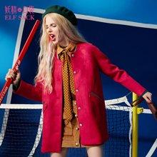 妖精的口袋P彩色世界冬装女撞色漆皮包边棒球领毛呢外套女中长款