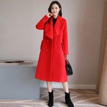 轩品媛  喜庆本命年大红毛呢大衣长袖中长款保暖呢子风衣外套女  X608760