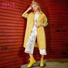妖精的口袋春装字母印花上衣缎面双排扣翻领休闲风衣外套长款女