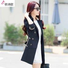 依诗欧春秋季新品中长款修身气质系带韩版女式风衣外套女装 FY9828
