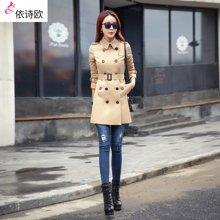 依诗欧风衣女春装新款修身气质淑女装韩版女式中长款秋装外套 FY16015