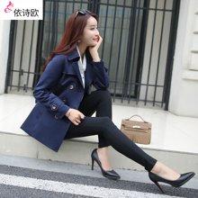 依诗欧风衣女春装新款双排扣韩版女装修身显瘦女式短款外套 FY16027