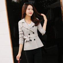 依诗欧短款风衣女2018春装新款双排扣韩版修身女装显瘦女式外套 FY16068