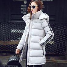 百依恋歌 冬季棉衣棉服纯色拉链长袖加厚中长款修身外套 BL2612