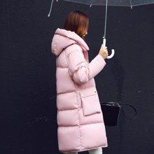 百依恋歌 冬季长袖加厚中长款直筒口袋拉链棉衣棉服 BL2613