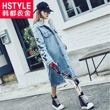韩都衣舍2017韩版女装冬新款牛仔直筒显瘦中长款棉衣棉服CQ7495莀