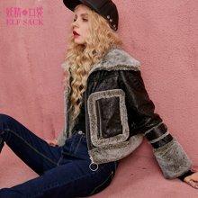 妖精的口袋冬装复古上衣外套翻领chic仿皮毛夹克短款女-