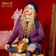 妖精的口袋P爱好没理由冬装女保暖棉服外套拼接连帽棉服女中长款