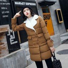 轩品媛  冬装新款上新女韩版羊羔毛西装领中长款显瘦泡泡袖棉服外套潮棉袄  12009862