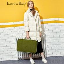 BANANA BABY新款白色翻领羽绒服女宽松休闲中长款外套D64W672