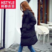 韩都衣舍2017韩版女装冬装新款宽松显瘦长袖中长款羽绒服