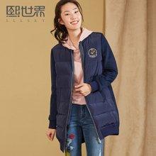 熙世界中长款韩版长袖直筒羽绒服女2018春刺绣外套LY012