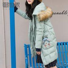 熙世界复古中长款刺绣羽绒服女冬新款长袖鸭绒外套LY033