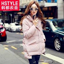 2017韩版女装冬季新款纯色显瘦加厚中长连帽羽绒服EQ7800婋0821