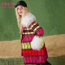 妖精的口袋冬装复古外套撞色格子毛领双排扣保暖羽绒服长款女