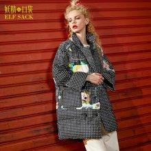 冬装外套休闲面包服喇叭袖高领上衣保暖白鸭绒羽绒服长款女-