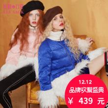 妖精的口袋冬装chic甜美外套拼接高领面包服保暖白鸭绒羽绒服短款女