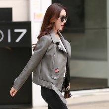 轩品媛  皮衣PU西装领外套拉链2017年秋季新款长袖时尚百搭上衣  X201628