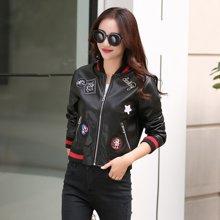 轩品媛  修身长袖时尚夹克2017年秋季拉链短款PU皮衣气质上衣外套  X201658