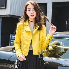 轩品媛  2017秋季新品皮衣女短款机车服时尚皮夹克单皮外套  X1208801