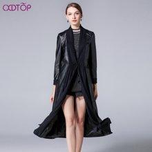 茜诗迪 2017年秋季新款披肩领皮衣修身高端女皮衣绵黑色羊皮皮衣