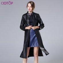 茜诗迪 2017年秋季新款立体剪裁纽扣奢华气质女皮衣绵黑色羊皮衣