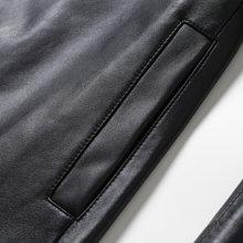 茜诗迪 2017年秋季新款立体剪裁V领气质高端女皮衣绵黑色羊皮皮衣