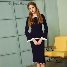 BANANA BABY新款长袖针织套装裙喇叭袖显瘦两件套女D64T017