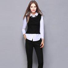 薇语馨 M1841钉珠翻领长袖白衬衫马甲假两件+修身裤两套装