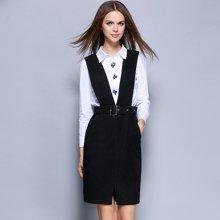薇语馨 1639欧美秋季新品简约衬衣+背带裙两件套